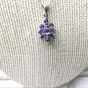 Tanzanite purple stone sterling silver necklace